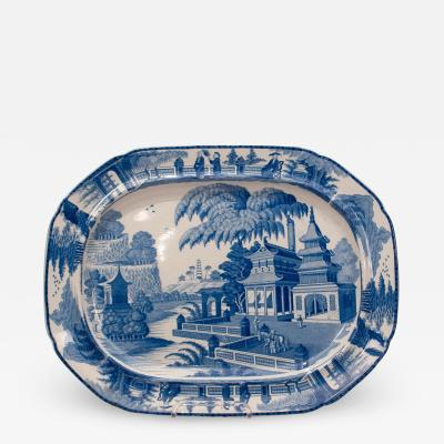 Circa 1820 Large Blue and White Platter in the Chinese Style England