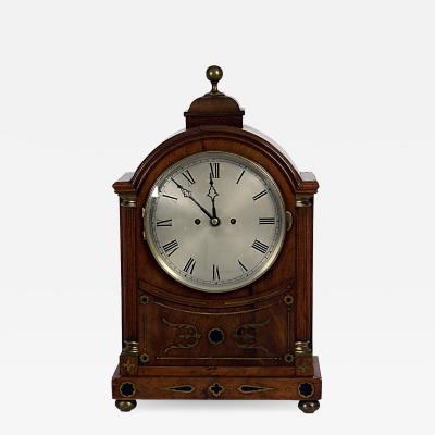 Circa 1820 Regency Mahogany Brass Inlaid Bracket Clock England