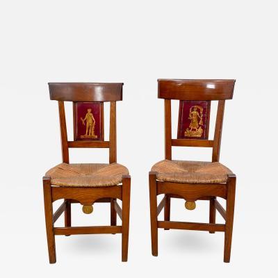 Circa 1820 Tole Panel Chairs A Pair
