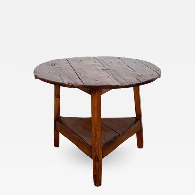 Circa 1840 Rustic English Pine Cricket Table