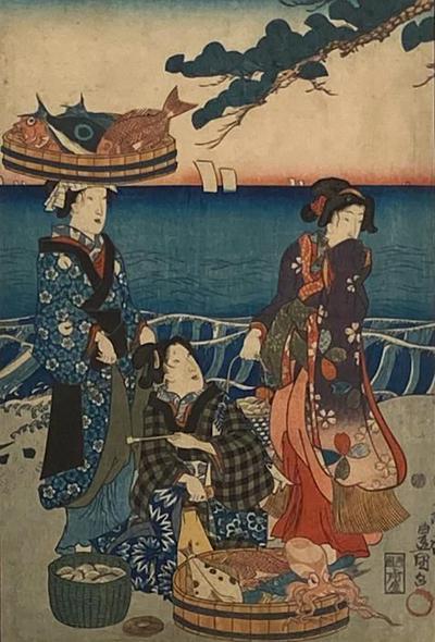 Circa 1860 Woodblock Print Japan