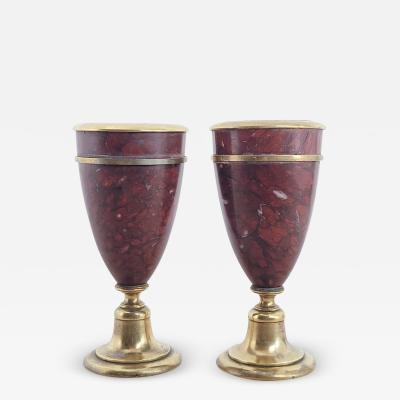Circa 1870 Napoleon III Rouge Royal and Gilt Bronze Urns France A Pair