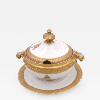 Circa 1870 Old Paris Porcelain Heavily Gilt Sauce Tureen