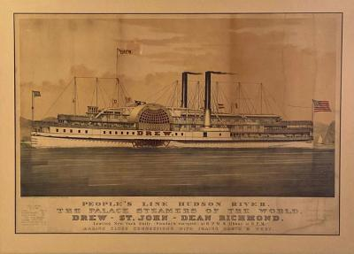 Circa 1877 Currier Ives Lithograph of the Steam Ship Drew American
