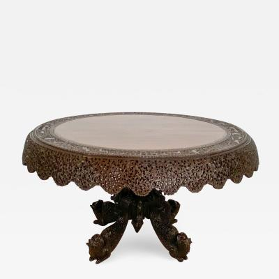 Circa 1880 Elm Decorated Center Table Carved with Carved Foliage Creatures