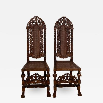 Circa 1889 William and Mary Style Side Chairs England A Pair