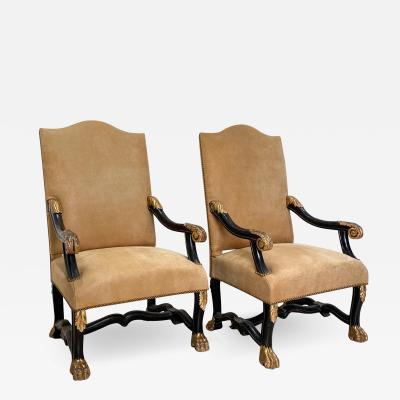 Circa 18th 19th Century Portuguese Open Armchairs A Pair