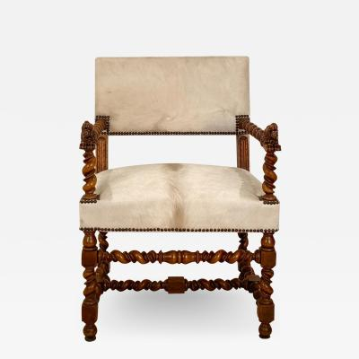 Circa 18th Century Baroque Walnut Armchair Italy