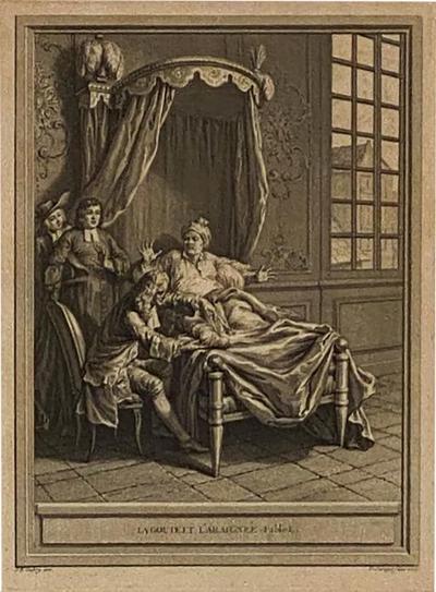Circa 18th Century La Gouteet LAraignee Engraving France