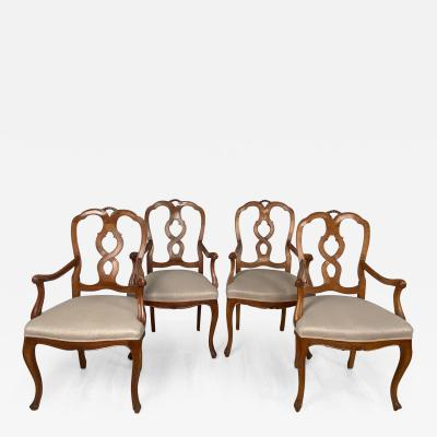 Circa 1900 Pear Wood Italian Armchairs Set of Four