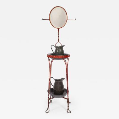 Circa 1900 Red Metal Wire Two Tier Twist Stand with Beveled Mirror