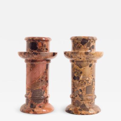Circa 1900 Two Similar Jasper Candlesticks France