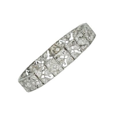 Circa 1915 Platinum Diamond Bracelet