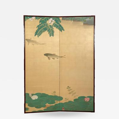 Circa 1920 2 Panel Screen Japan