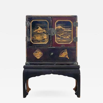 Circa 1920 Japanese Miniature Cabinet on Stand
