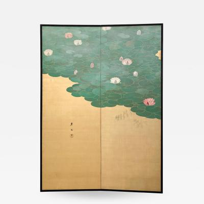 Circa 1920 Taisho Period 2 Panel Screen Japan