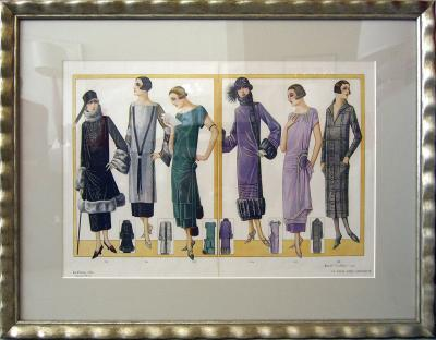 Circa 1920s Hand Printed and Painted Fashion Illustration Framed Vintage