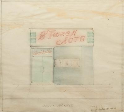 Circa 1949 BTween Acts Crayon and Pencil Drawing