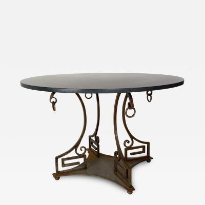 Circa 1970s Neoclassical Style Iron and Marble Table American