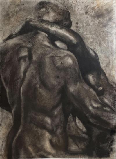 Circa 1980 Vintage Charcoal Sketch of Two Figures USA