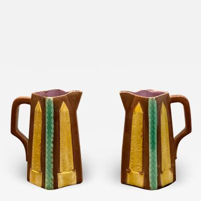 Circa 19th Century Egyptian Obelisks Majolica Pitchers England A Pair