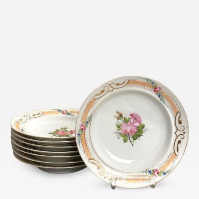 Circa 19th Century Set of 8 Paris Porcelain Soup Bowls France