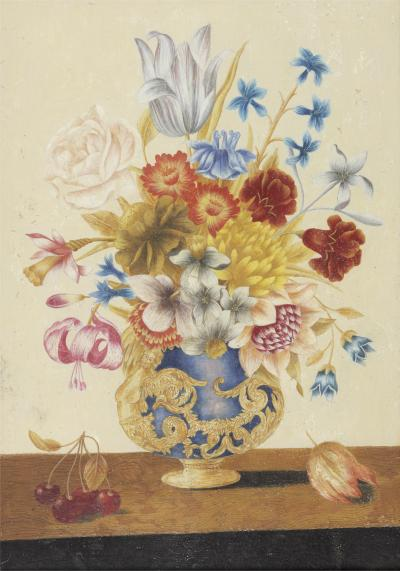 Circle of Ferdinando Narvaez A Pair of Bouquet of Colorful Flowers in Florentine Vases Both in Original Frame