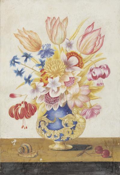 Circle of Ferdinando Narvaez A Pair of Bouquet of Colorful Flowers in Florentine Vases Both in Original Frame