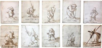 Circle of Giovanni Domenico Tiepolo A Group of Ten Caricatures