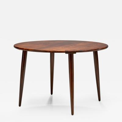 Circular Coffee Table With Slightly Tapered Legs Denmark 1960s