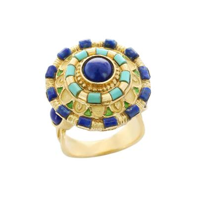 Circular Lapis and Turquoise Statement Ring Enamel and 18 Karat Yellow Gold