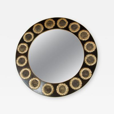 Circular Mirrors with Brass and Sunflower Details