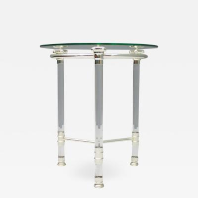 Circular Side Table in Glass Lucite and Slivered Metal France 1980s