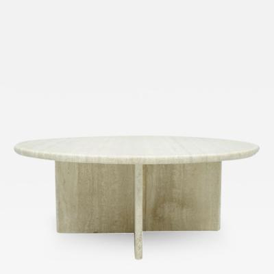 Circular Travertine Coffee Table Italy 1970s