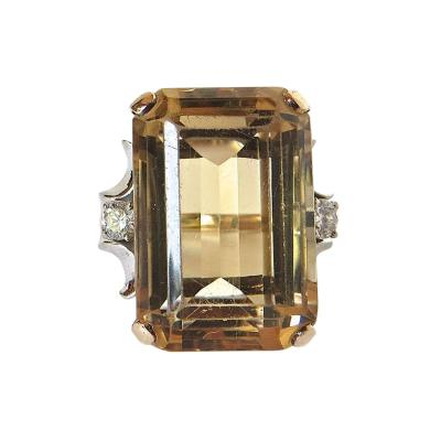 Citrine Cocktail Ring Circa 1950s