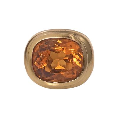Citrine Ring 1970s French mixed metal