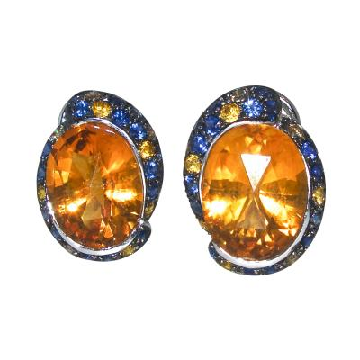 Citrine and Sapphire Earrings