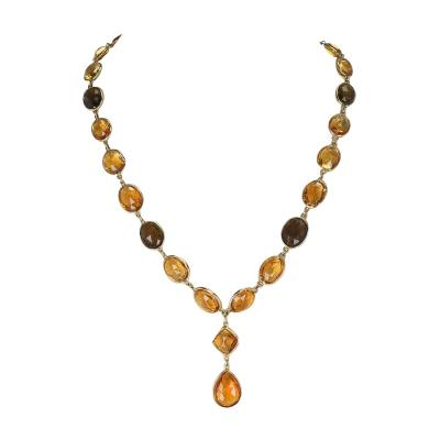 Citrine and Smoky Quartz Double Cabochon Rose Cut Fine 18 Karat Gold Necklace