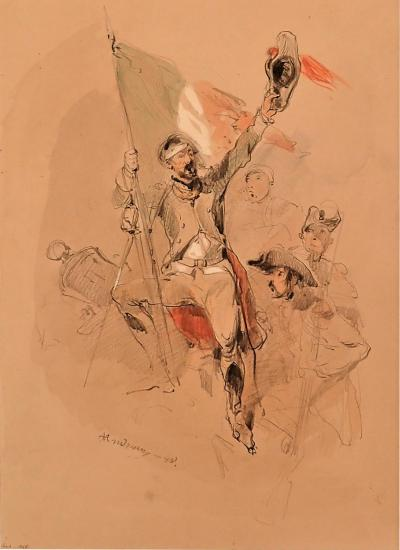 Cl ment Auguste Andrieux Watercolor Drawing Of The Revolution Of 1848 By Cl ment Auguste Andrieux