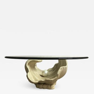 Clam Pearl Shell Wooden Coffee Table