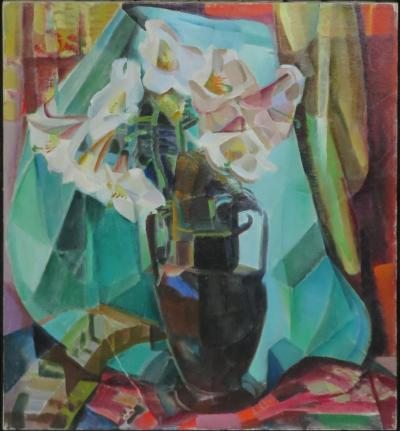 Clara L Deike Still Life with Regal Lilies in Dark Vase