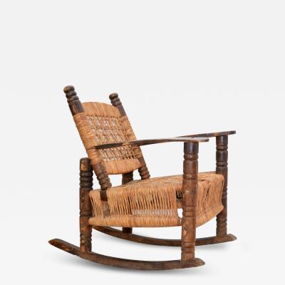 Clara Porset Dumas Antique Childrens Rocking Chair Wood Wicker Seagrass Armchair Rocker 1930s