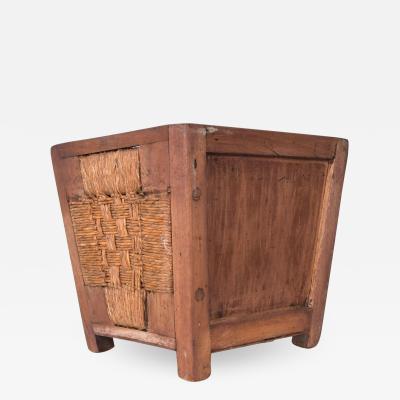 Clara Porset Dumas Clara Porset Mahogany Wood Wicker Waste Basket Planter Jardini re