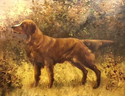 Clarence E Braley Oil on canvas of setter or retriever dog signed Clarence E Braley