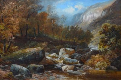 Clarence Henry Roe Creeping Steads River Twiss 19th Century English Landscape Oil Painting
