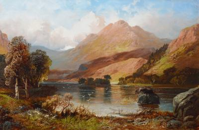 Clarence Henry Roe Rydal Water 19th Century Landscape Oil Painting of Lake District