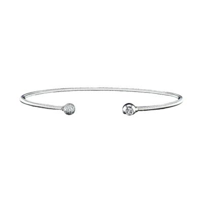 Classic 14K White Gold Spring Bangle Bracelet with Diamonds
