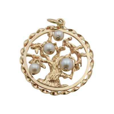 Classic Cultured Pearls Gold Tree of Life Pendant
