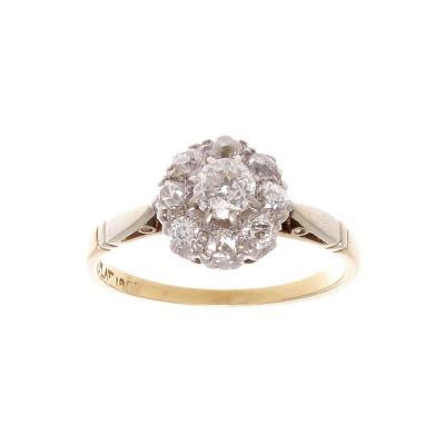 Classic Diamond Gold Platinum Cluster Ring