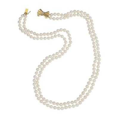 Classic Double Strand Cultured Pearl Necklace with Diamond and Gold Bow Clasp
